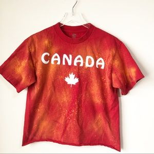 Canada distressed cropped tee